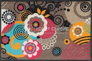 Коврик для дома wash+dry Loops and Flowers 60x180