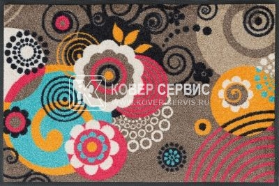 Коврик для дома wash+dry Loops and Flowers 50x75